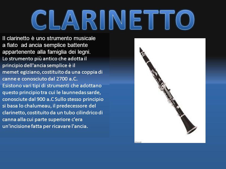 Il clarinetto è uno strumento musicale a fiato ad ancia semplice battente appartenente alla famiglia dei legni. Lo strumento più antico che adotta il