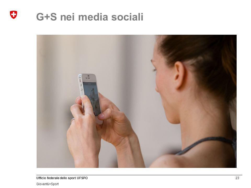 23 Ufficio federale dello sport UFSPO Gioventù+Sport G+S nei media sociali