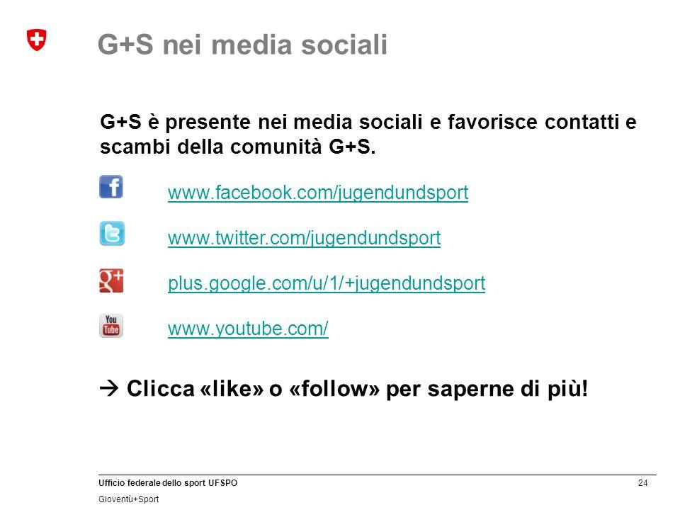 24 Ufficio federale dello sport UFSPO Gioventù+Sport G+S è presente nei media sociali e favorisce contatti e scambi della comunità G+S.