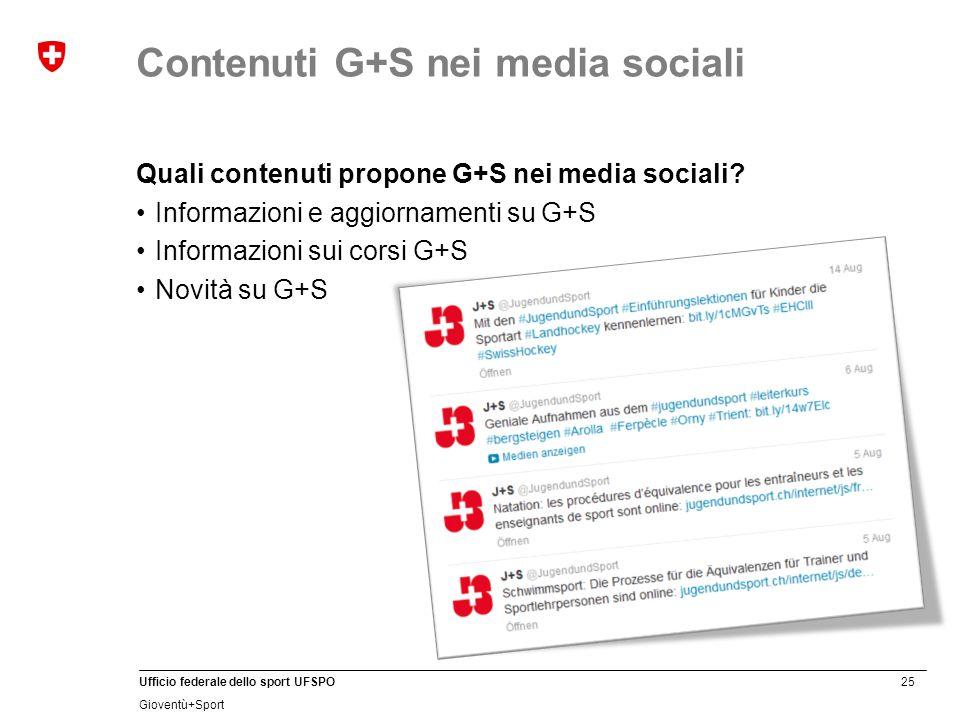 25 Ufficio federale dello sport UFSPO Gioventù+Sport Quali contenuti propone G+S nei media sociali.