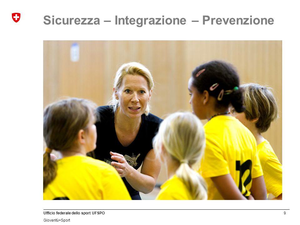 9 Ufficio federale dello sport UFSPO Gioventù+Sport Sicurezza – Integrazione – Prevenzione
