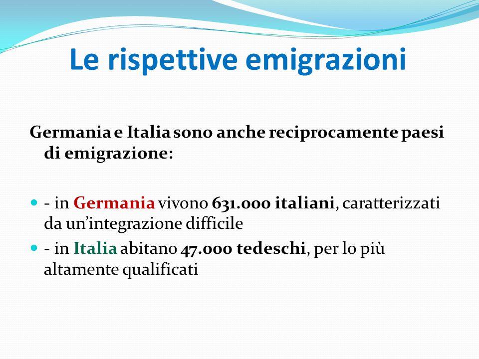 Le rispettive emigrazioni Germania e Italia sono anche reciprocamente paesi di emigrazione: - in Germania vivono 631.000 italiani, caratterizzati da un'integrazione difficile - in Italia abitano 47.000 tedeschi, per lo più altamente qualificati
