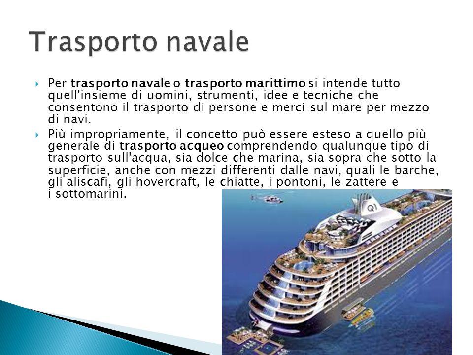  Per trasporto navale o trasporto marittimo si intende tutto quell'insieme di uomini, strumenti, idee e tecniche che consentono il trasporto di perso