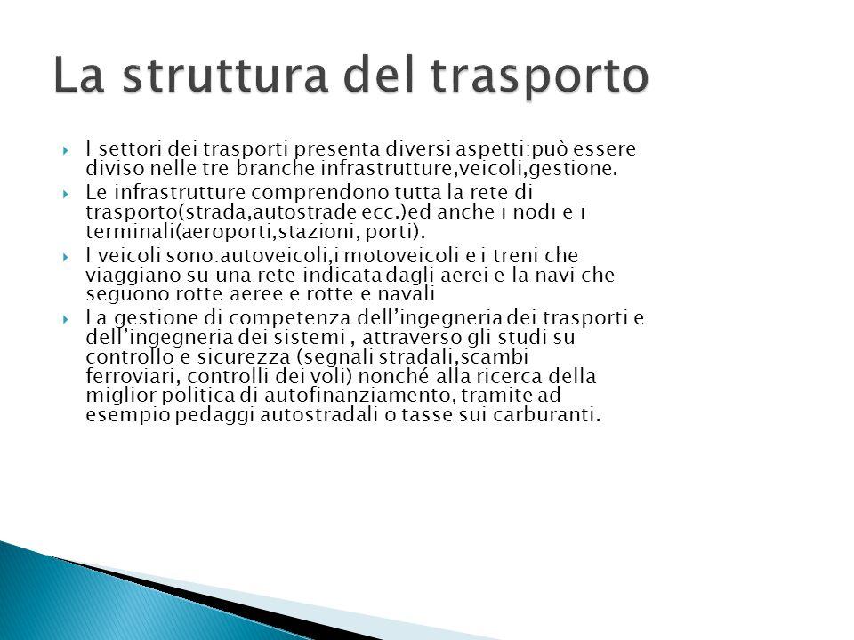  I settori dei trasporti presenta diversi aspetti:può essere diviso nelle tre branche infrastrutture,veicoli,gestione.  Le infrastrutture comprendon