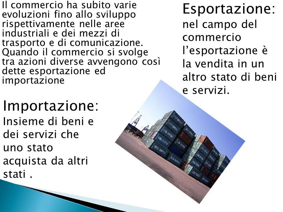  Il commercio ha subito varie evoluzioni fino allo sviluppo rispettivamente nelle aree industriali e dei mezzi di trasporto e di comunicazione. Quand