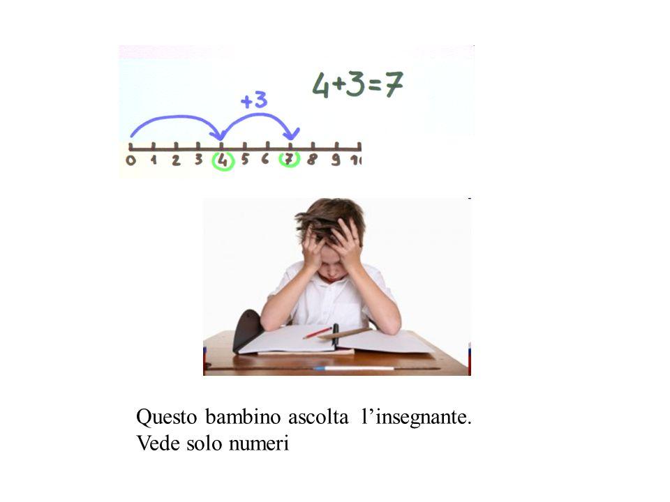 Questo bambino ascolta l'insegnante. Vede solo numeri