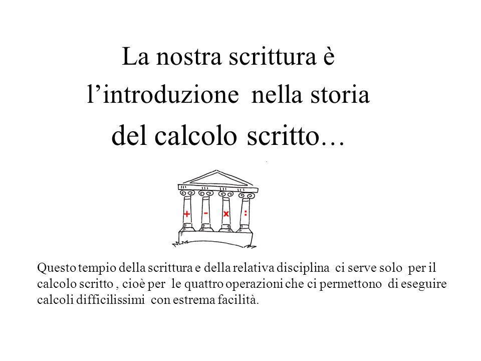 La nostra scrittura è l'introduzione nella storia del calcolo scritto … Questo tempio della scrittura e della relativa disciplina ci serve solo per il