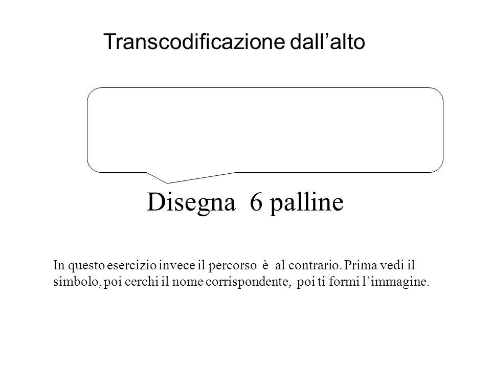 Disegna 6 palline Transcodificazione dall'alto In questo esercizio invece il percorso è al contrario.