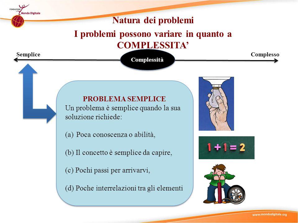 Natura dei problemi I problemi possono variare in quanto a COMPLESSITA' SempliceComplesso Complessità PROBLEMA SEMPLICE Un problema è semplice quando la sua soluzione richiede: (a)Poca conoscenza o abilità, (b) Il concetto è semplice da capire, (c) Pochi passi per arrivarvi, (d) Poche interrelazioni tra gli elementi PROBLEMA SEMPLICE Un problema è semplice quando la sua soluzione richiede: (a)Poca conoscenza o abilità, (b) Il concetto è semplice da capire, (c) Pochi passi per arrivarvi, (d) Poche interrelazioni tra gli elementi