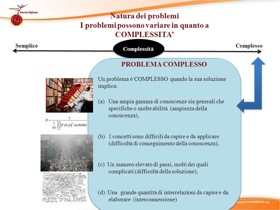 SempliceComplesso Complessità PROBLEMA COMPLESSO Un problema è COMPLESSO quando la sua soluzione implica: (a)Una ampia gamma di conoscenze sia generali che specifiche o molte abilità (ampiezza della conoscenza), (b) I concetti sono difficili da capire e da applicare (difficoltà di conseguimento della conoscenza), (c) Un numero elevato di passi, molti dei quali complicati (difficoltà della soluzione), (d) Una grande quantità di interrelazioni da capire e da elaborare (interconnessione) PROBLEMA COMPLESSO Un problema è COMPLESSO quando la sua soluzione implica: (a)Una ampia gamma di conoscenze sia generali che specifiche o molte abilità (ampiezza della conoscenza), (b) I concetti sono difficili da capire e da applicare (difficoltà di conseguimento della conoscenza), (c) Un numero elevato di passi, molti dei quali complicati (difficoltà della soluzione), (d) Una grande quantità di interrelazioni da capire e da elaborare (interconnessione) Natura dei problemi I problemi possono variare in quanto a COMPLESSITA'