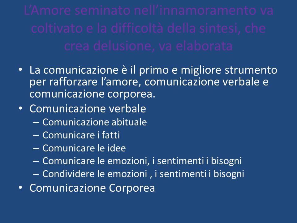 L'Amore seminato nell'innamoramento va coltivato e la difficoltà della sintesi, che crea delusione, va elaborata La comunicazione è il primo e miglior
