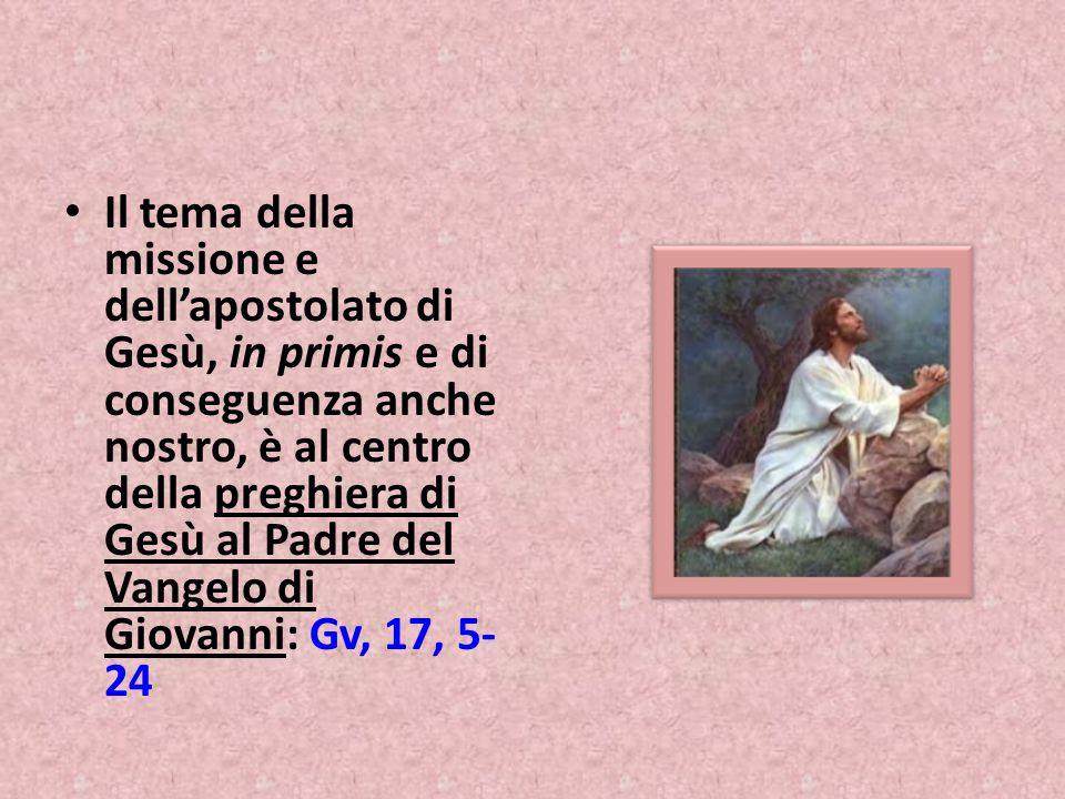 Il tema della missione e dell'apostolato di Gesù, in primis e di conseguenza anche nostro, è al centro della preghiera di Gesù al Padre del Vangelo di