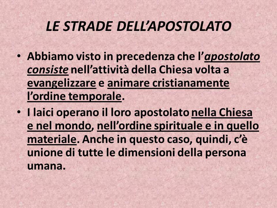 LE STRADE DELL'APOSTOLATO Abbiamo visto in precedenza che l'apostolato consiste nell'attività della Chiesa volta a evangelizzare e animare cristianame