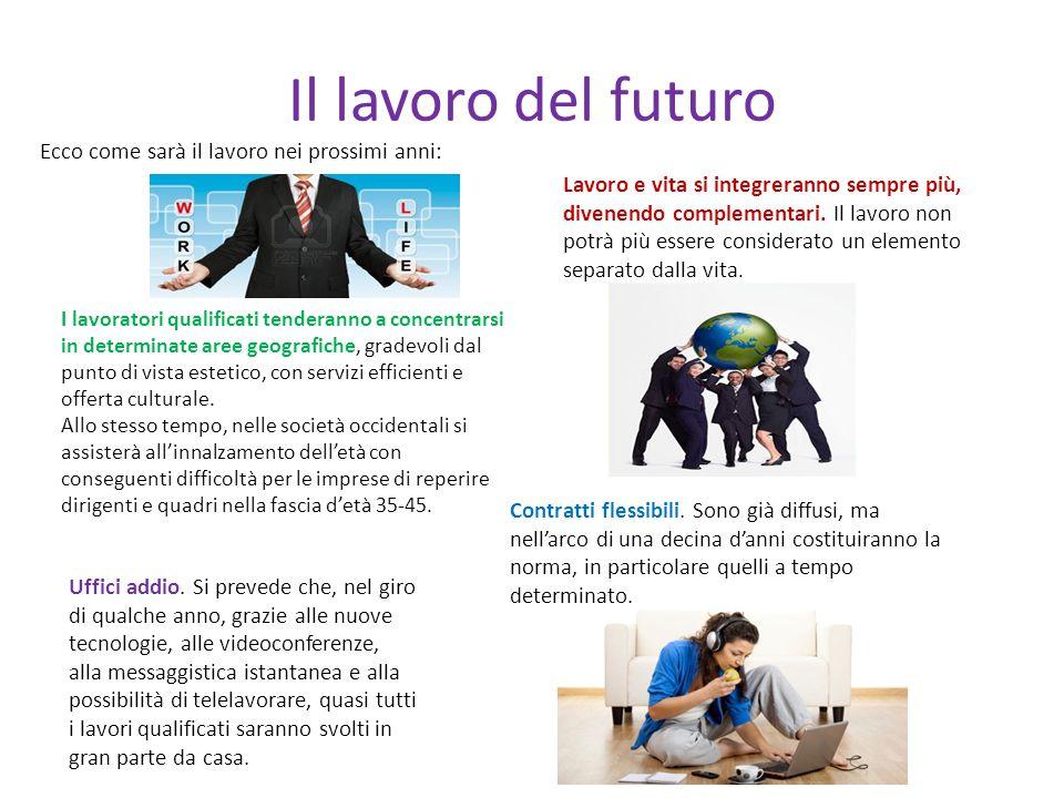 Il lavoro del futuro Ecco come sarà il lavoro nei prossimi anni: Lavoro e vita si integreranno sempre più, divenendo complementari. Il lavoro non potr