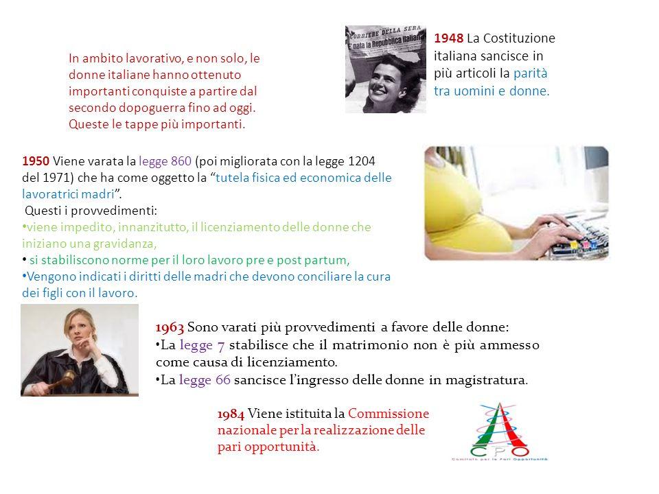 In ambito lavorativo, e non solo, le donne italiane hanno ottenuto importanti conquiste a partire dal secondo dopoguerra fino ad oggi. Queste le tappe