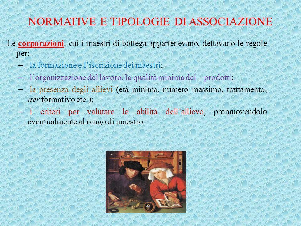 Le corporazioni, cui i maestri di bottega appartenevano, dettavano le regole per: – la formazione e l'iscrizione dei maestri; – l'organizzazione del l