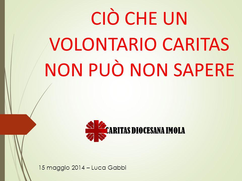 CIÒ CHE UN VOLONTARIO CARITAS NON PUÒ NON SAPERE 15 maggio 2014 – Luca Gabbi CARITAS DIOCESANA IMOLA