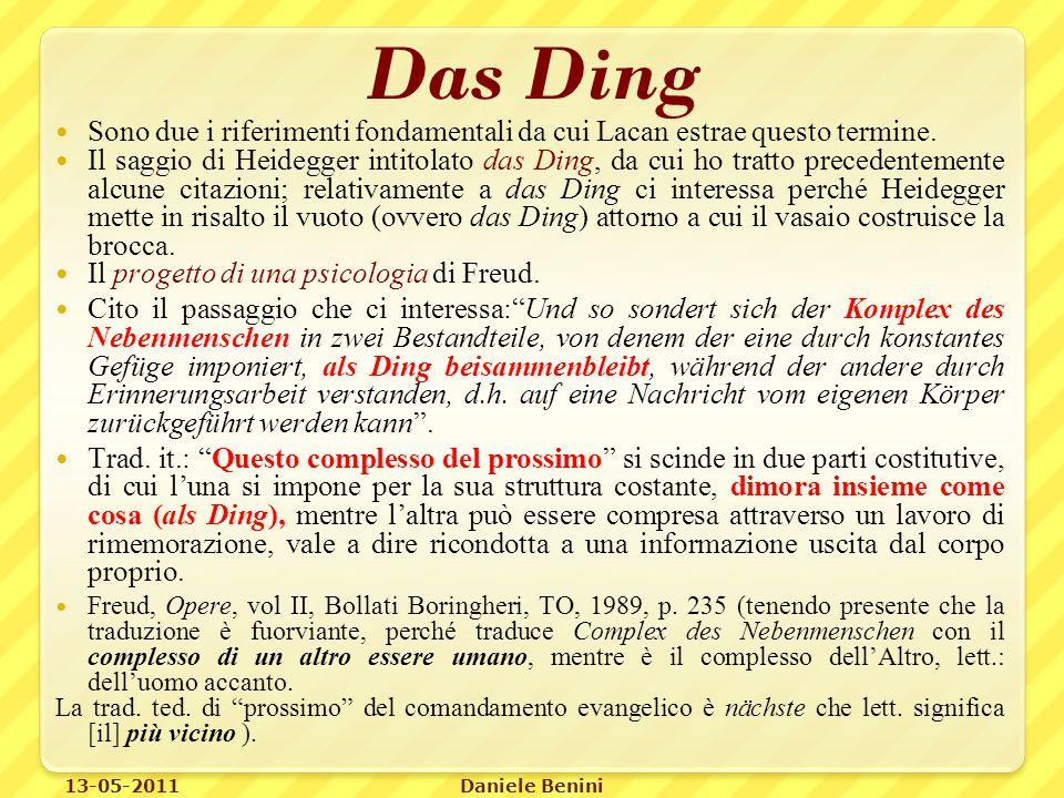 Das Ding Sono due i riferimenti fondamentali da cui Lacan estrae questo termine.