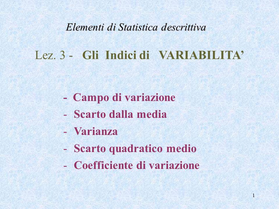 1 Lez. 3 - Gli Indici di VARIABILITA' - Campo di variazione -Scarto dalla media -Varianza -Scarto quadratico medio -Coefficiente di variazione Element