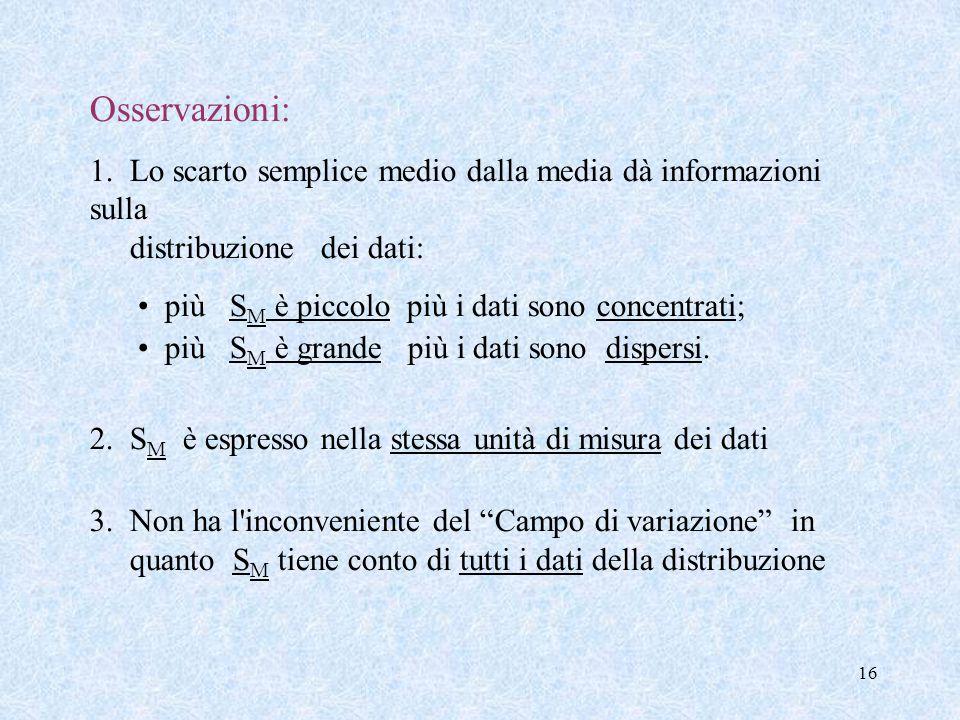 16 Osservazioni: 1. Lo scarto semplice medio dalla media dà informazioni sulla distribuzione dei dati: più S M è piccolo più i dati sono concentrati;
