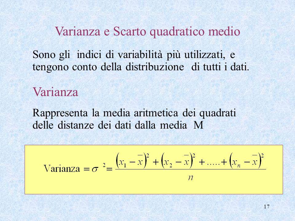 17 Varianza e Scarto quadratico medio Sono gli indici di variabilità più utilizzati, e tengono conto della distribuzione di tutti i dati. Varianza Rap