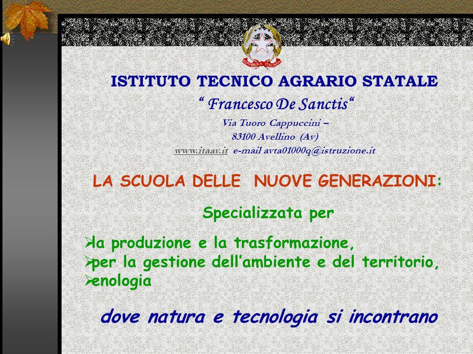 ISTITUTO TECNICO AGRARIO STATALE Francesco De Sanctis Via Tuoro Cappuccini – 83100 Avellino (Av) www.itaav.itwww.itaav.it e-mail avta01000q@istruzione.it LA SCUOLA DELLE NUOVE GENERAZIONI: Specializzata per  la produzione e la trasformazione,  per la gestione dell'ambiente e del territorio,  enologia dove natura e tecnologia si incontrano