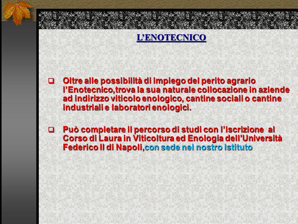 L'ENOTECNICO  Oltre alle possibilità di impiego del perito agrario l'Enotecnico,trova la sua naturale collocazione in aziende ad indirizzo viticolo enologico, cantine sociali o cantine industriali e laboratori enologici.
