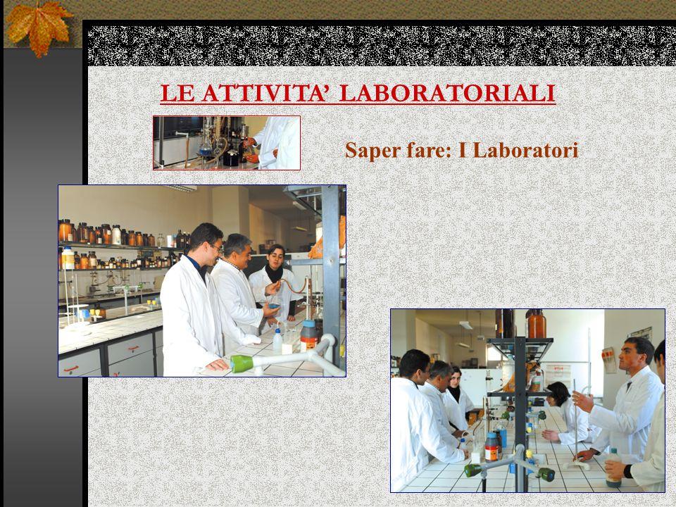 LE ATTIVITA' LABORATORIALI Saper fare: I Laboratori