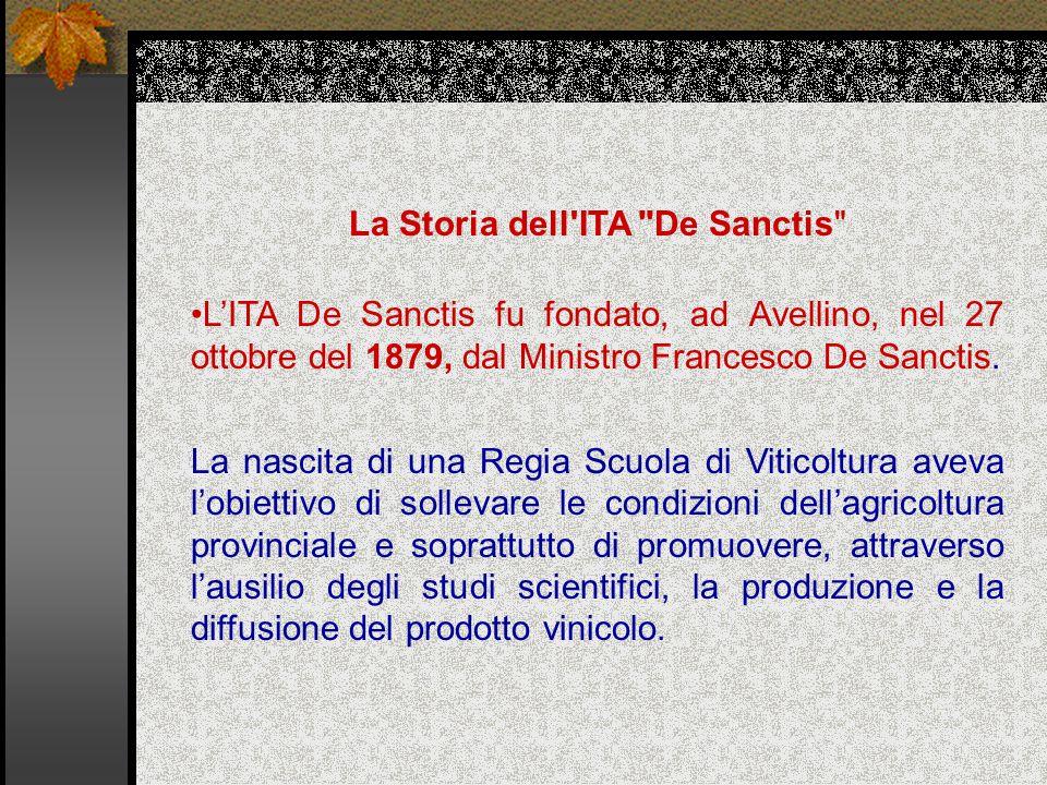 La Storia dell ITA De Sanctis L'ITA De Sanctis fu fondato, ad Avellino, nel 27 ottobre del 1879, dal Ministro Francesco De Sanctis.