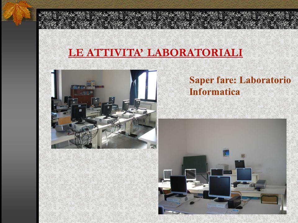 LE ATTIVITA' LABORATORIALI Saper fare: Laboratorio Informatica