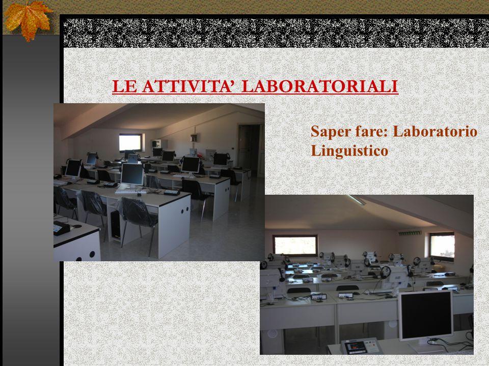 LE ATTIVITA' LABORATORIALI Saper fare: Laboratorio Linguistico