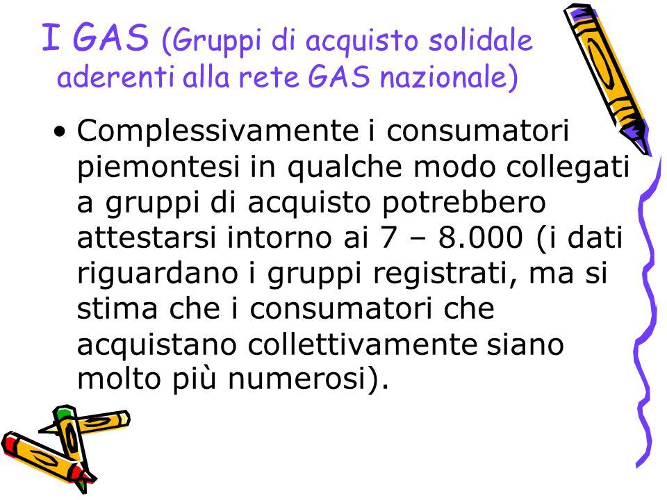 I GAS (Gruppi di acquisto solidale aderenti alla rete GAS nazionale) Complessivamente i consumatori piemontesi in qualche modo collegati a gruppi di a