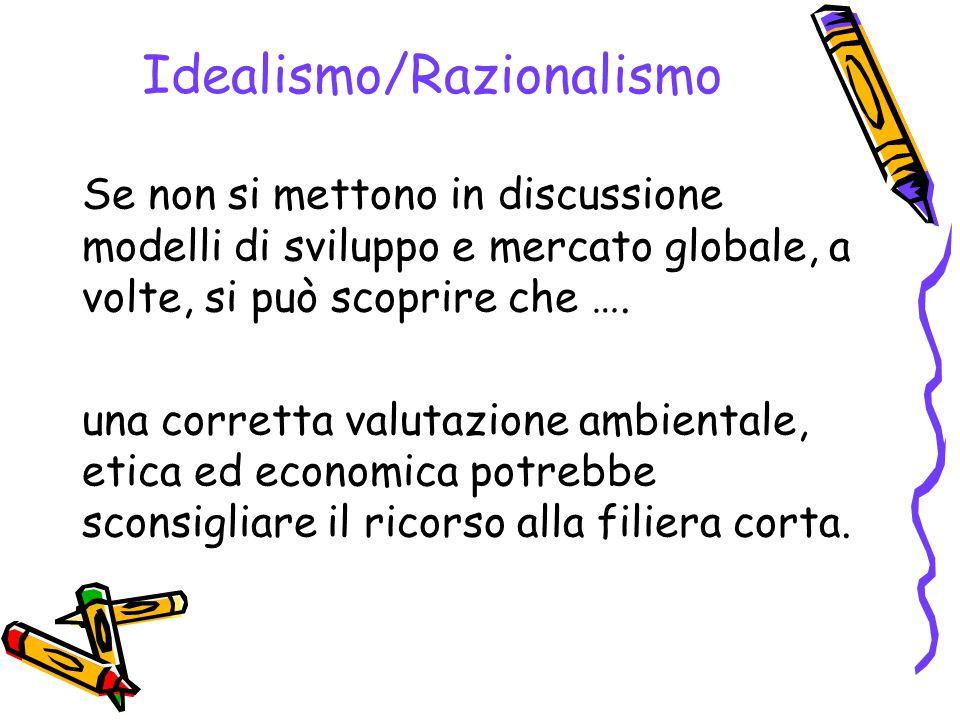 Idealismo/Razionalismo Se non si mettono in discussione modelli di sviluppo e mercato globale, a volte, si può scoprire che …. una corretta valutazion