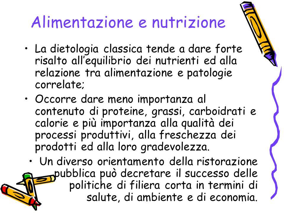 Alimentazione e nutrizione La dietologia classica tende a dare forte risalto all'equilibrio dei nutrienti ed alla relazione tra alimentazione e patolo