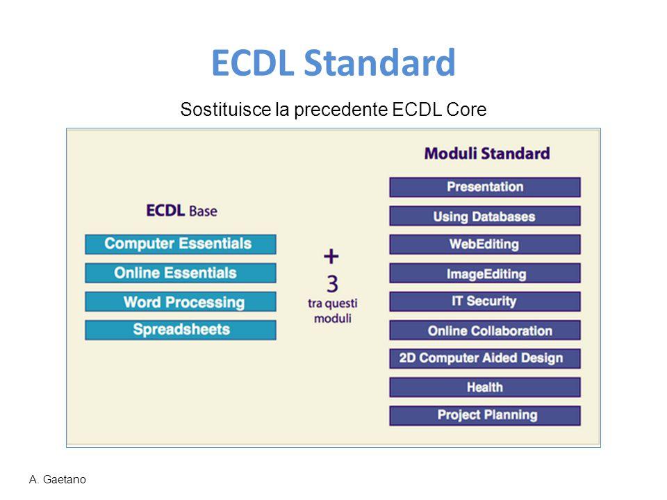 ECDL Standard Sostituisce la precedente ECDL Core A. Gaetano