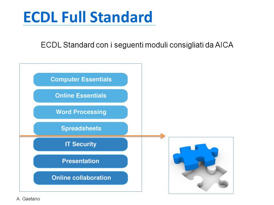 ECDL Full Standard ECDL Standard con i seguenti moduli consigliati da AICA A. Gaetano