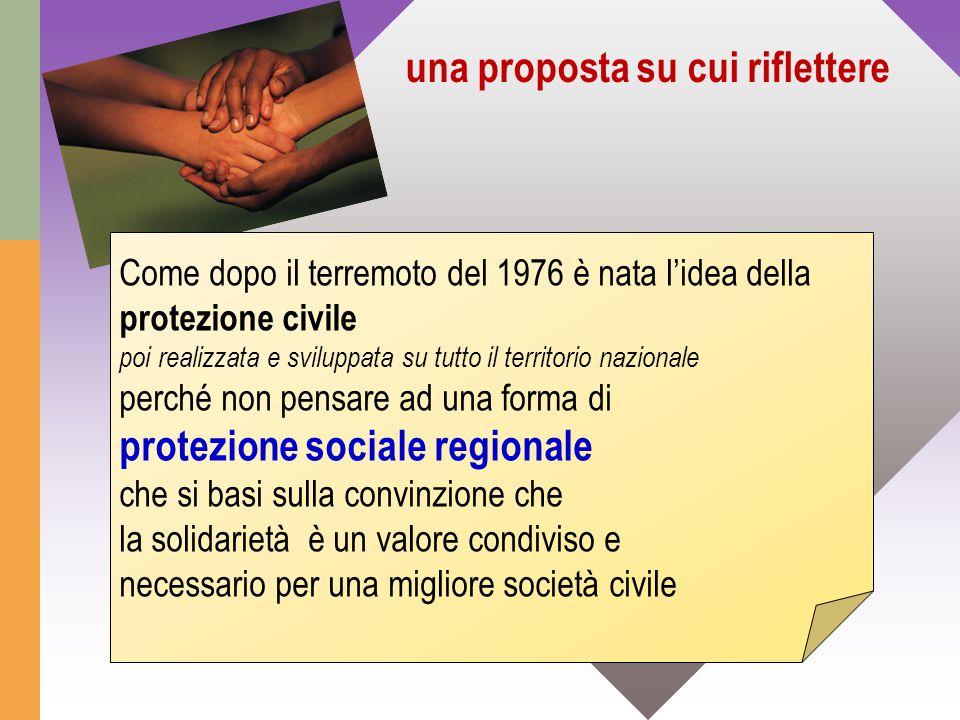 una proposta su cui riflettere Come dopo il terremoto del 1976 è nata l'idea della protezione civile poi realizzata e sviluppata su tutto il territori