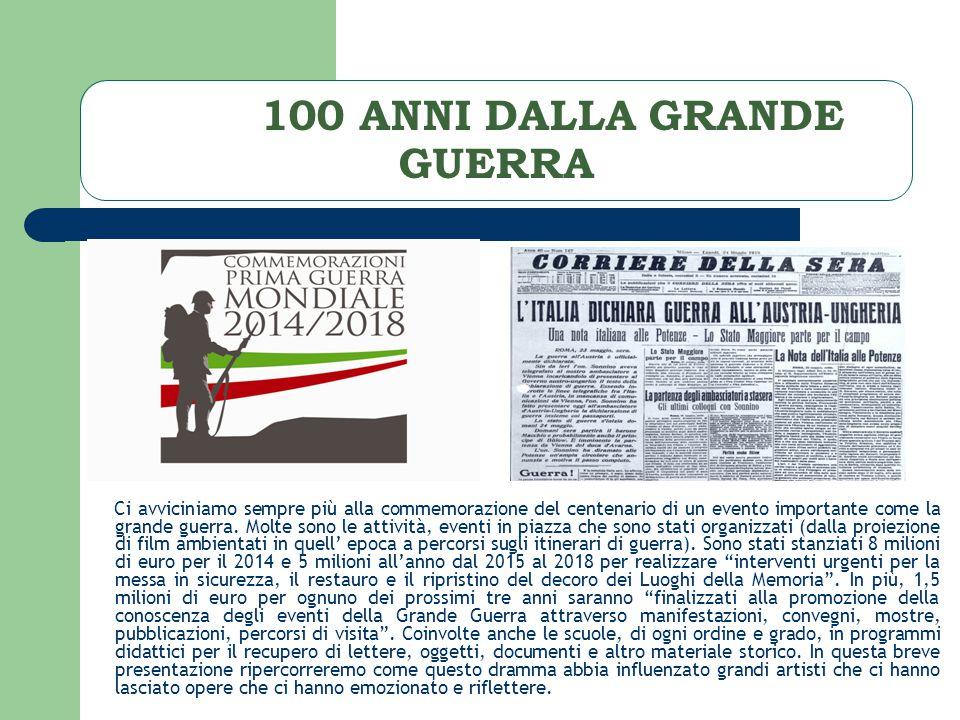 100 ANNI DALLA GRANDE GUERRA Ci avviciniamo sempre più alla commemorazione del centenario di un evento importante come la grande guerra.