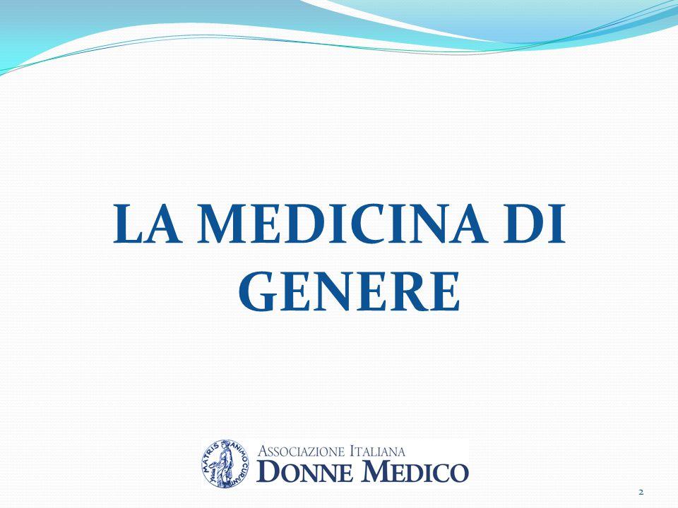 Definizione MEDICINA di GENERE: branca innovativa della medicina che si occupa di diversità tra generi, non intesa come differenze relative ai caratteri sessuali, ma come differenze anatomo-fisiologiche legate al genere di appartenenza che influiscono sullo stato di salute o di malattia.