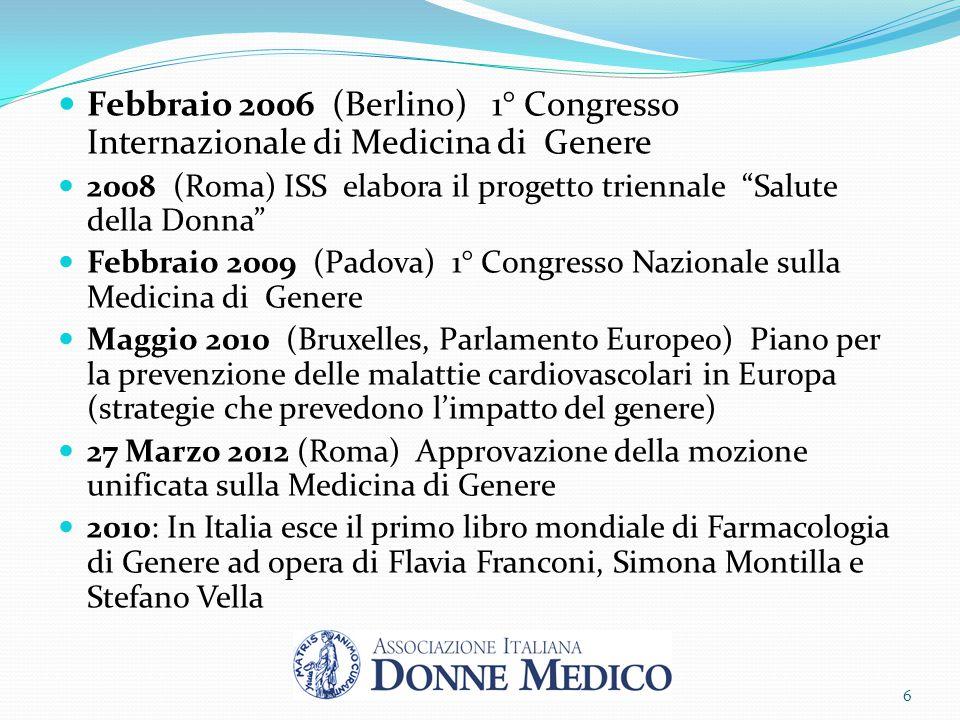 """Febbraio 2006 (Berlino) 1° Congresso Internazionale di Medicina di Genere 2008 (Roma) ISS elabora il progetto triennale """"Salute della Donna"""" Febbraio"""