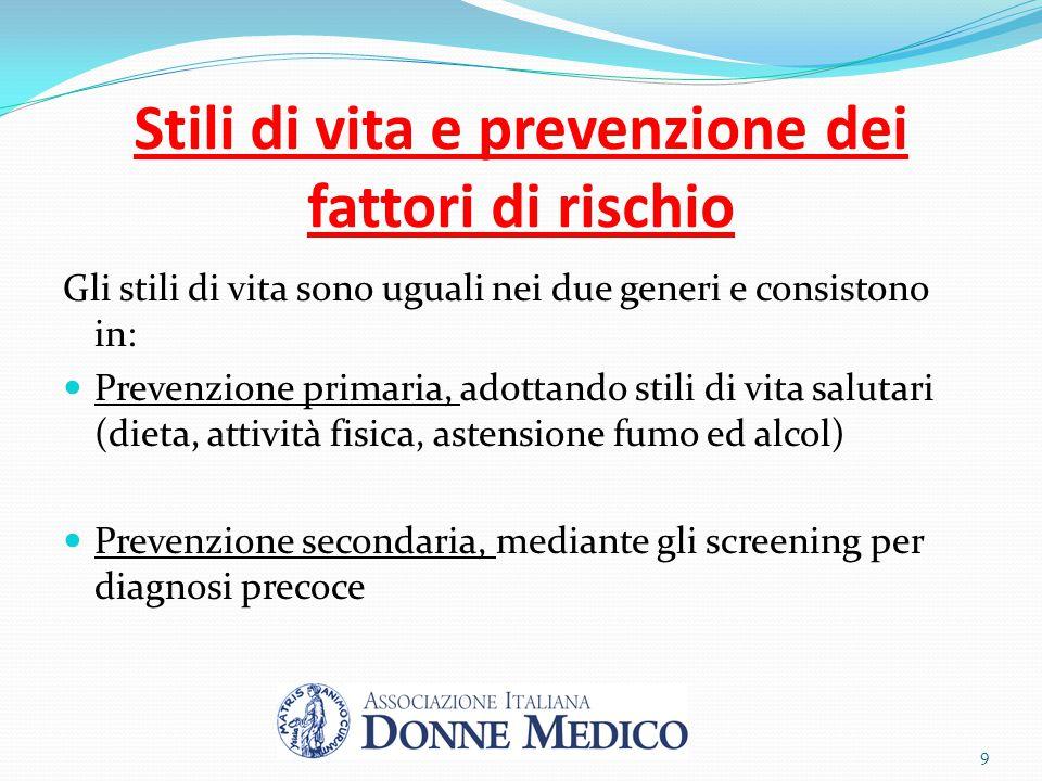 Stili di vita e prevenzione dei fattori di rischio Gli stili di vita sono uguali nei due generi e consistono in: Prevenzione primaria, adottando stili