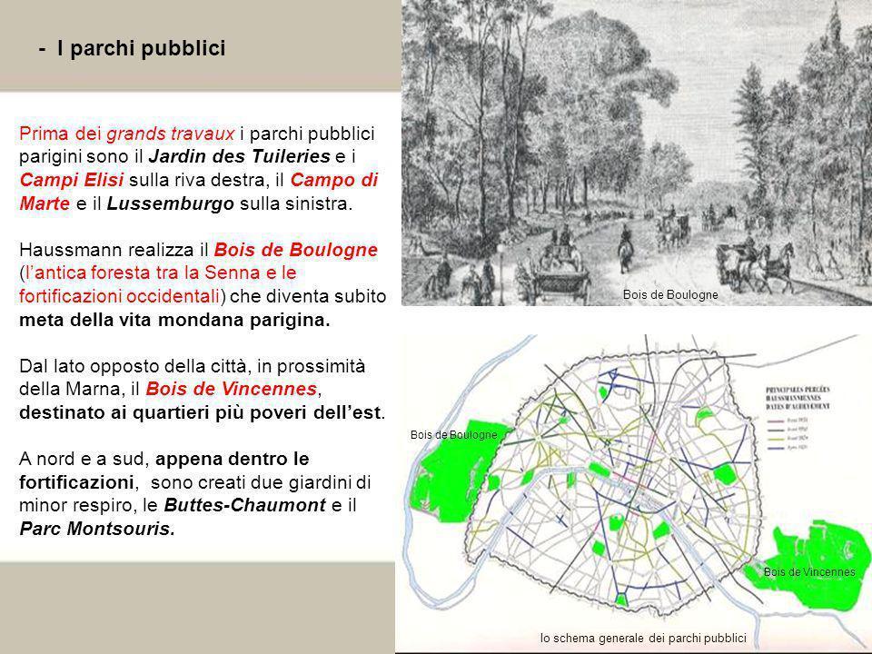 24 - I parchi pubblici Prima dei grands travaux i parchi pubblici parigini sono il Jardin des Tuileries e i Campi Elisi sulla riva destra, il Campo di
