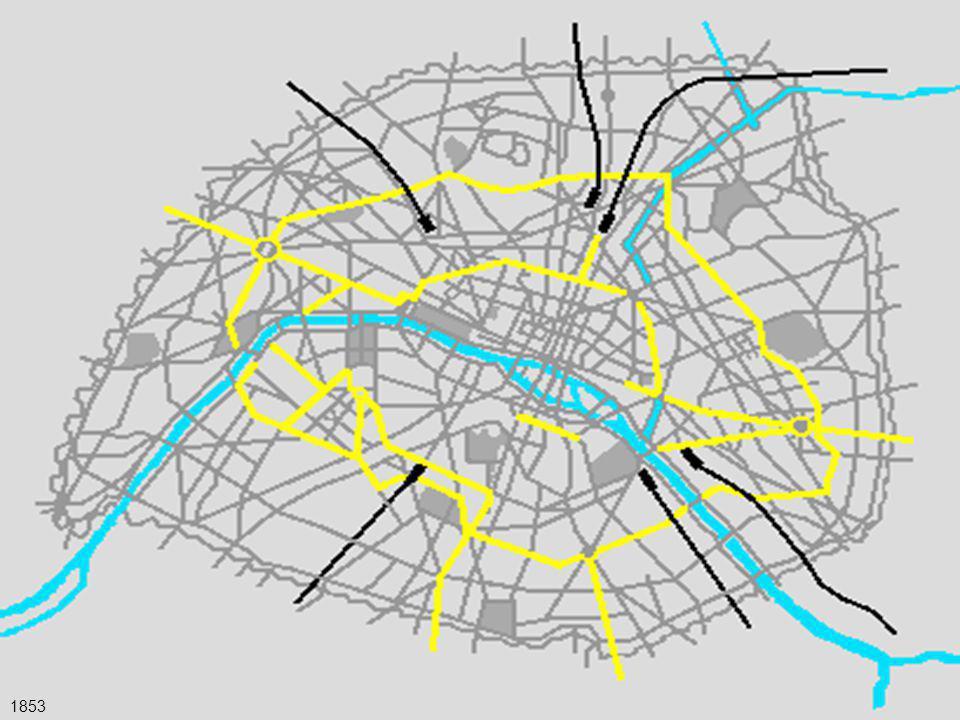 37 - l'opera di Haussmann Il Piano di Haussmann ci interessa oggi soprattutto come primo esempio moderno di intervento complesso su una grande città, e la sua azione amministrativa è forse ancora più importante delle trasformazioni edilizie che ha comportato.