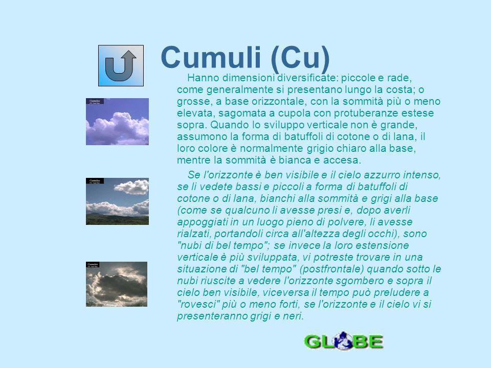 Cumulonembi (Cb) Sono nubi ad elevato sviluppo verticale, che vi si presenteranno imponenti sul cielo, a forma di torri, montagne o cupole.