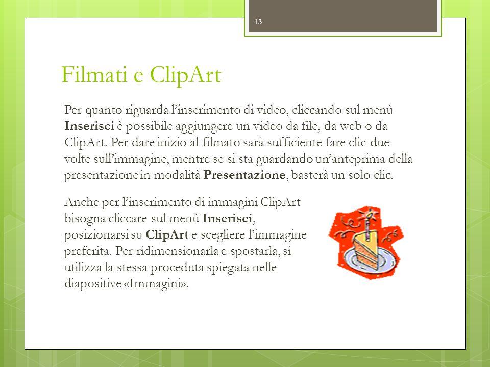 Filmati e ClipArt Per quanto riguarda l'inserimento di video, cliccando sul menù Inserisci è possibile aggiungere un video da file, da web o da ClipAr
