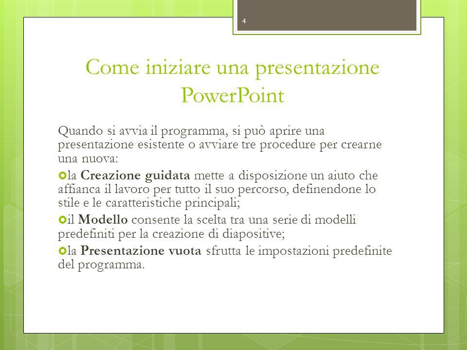 Come iniziare una presentazione PowerPoint Quando si avvia il programma, si può aprire una presentazione esistente o avviare tre procedure per crearne
