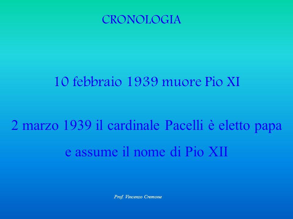 CRONOLOGIA 10 febbraio 1939 muore Pio XI 2 marzo 1939 il cardinale Pacelli è eletto papa e assume il nome di Pio XII Prof.