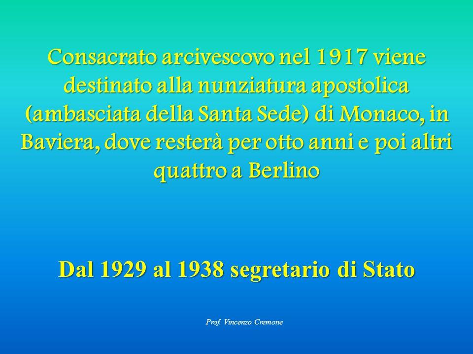 Dal 1929 al 1938 segretario di Stato Consacrato arcivescovo nel 1917 viene destinato alla nunziatura apostolica (ambasciata della Santa Sede) di Monaco, in Baviera, dove resterà per otto anni e poi altri quattro a Berlino Prof.