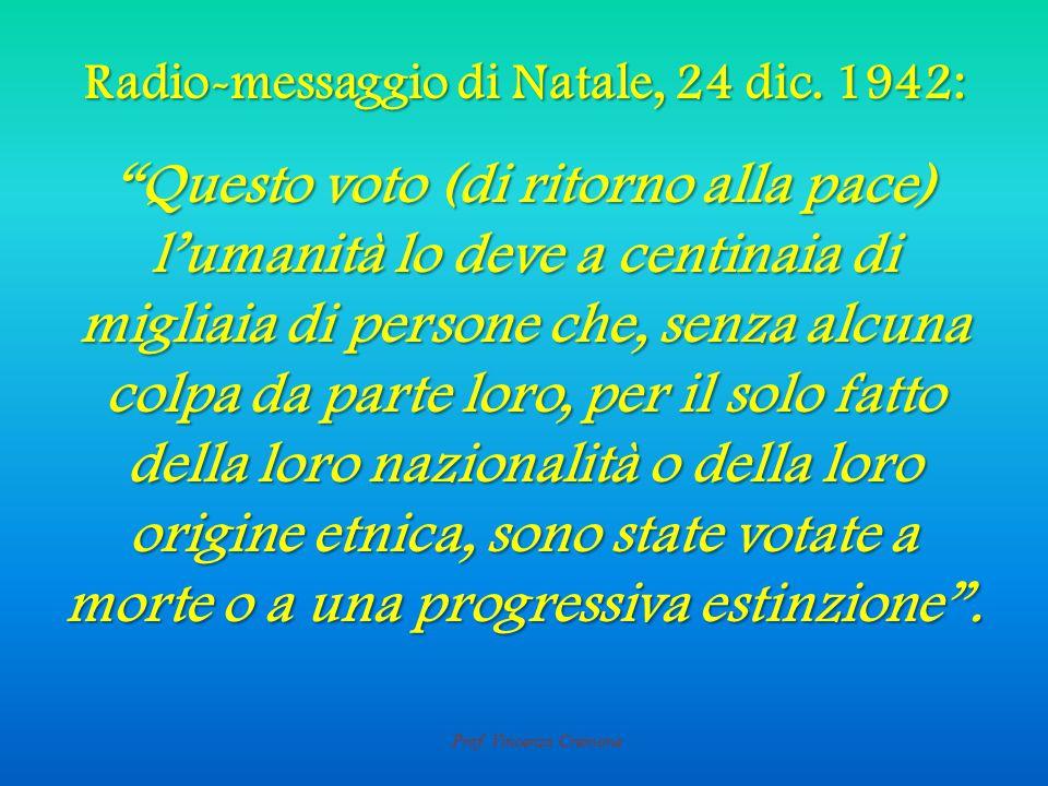 Prof. Vincenzo Cremone Radio-messaggio di Natale, 24 dic.