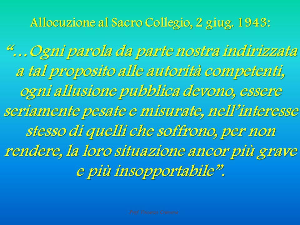 Prof. Vincenzo Cremone Allocuzione al Sacro Collegio, 2 giug.